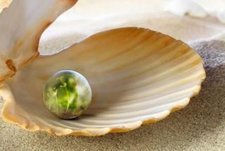 Perle mit Grün
